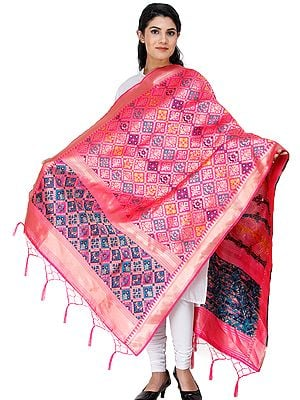 Brocade Dupatta from Gujarat with Brocade Weave