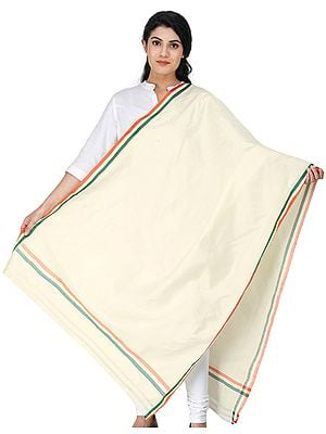 Cream Dupatta with Tri-Color Woven Stripes on Border