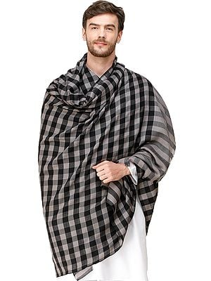 Gray and Black Mens' Pashmina Shawl from Amritsar with Woven Checks
