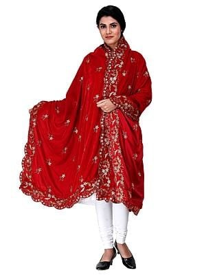 Velvet Dupatta from Amritsar with Embroidered Flowers and Sequins