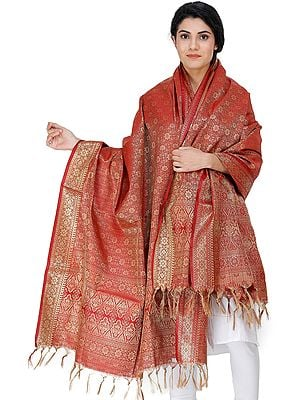 Garnet Red Dupatta from Banaras with Golden Thread Weave