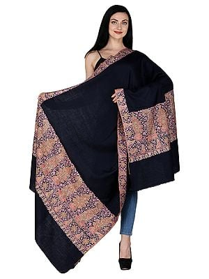 Midnight-Blue Pure Hand-woven Pashmina Shawl from Kashmir with Sozni Embroidery