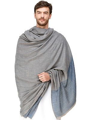 Gray and Bluestone Mens' Pashmina Shawl from Amritsar