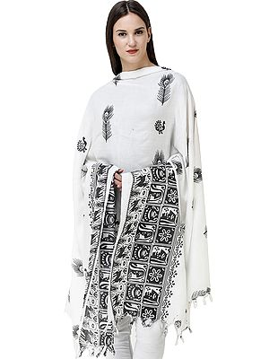 Ivory Shawl from Banaras with Block Printed Peackock Feathers