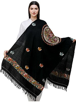 Black Stole from Kashmir with Hand-Embroidered Butterflies and Mandala Core