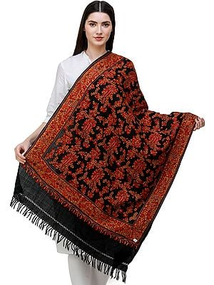 Jet-Black Stole from Kashmir with Hand-Embroidered Pasileys All-over