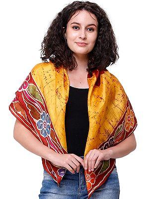 Amber Batik Tie-Dye Silk Scarf from Kolkata with Floral Motifs