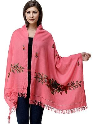 Hot-Pink Stole from Kashmir with Hand-Embroidered Floral Vine