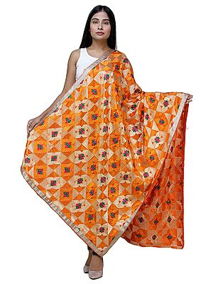 Phulkari Dupatta from Punjab with Geometric Patterns and Zari Border