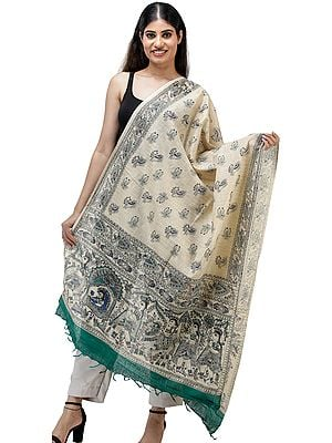 Handspun Cotton Dupatta from Jharkhand with Printed Madhubani Marriage Procession