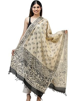 Khadi Cotton Dupatta from Jharkhand with Printed Madhubani Marriage Procession