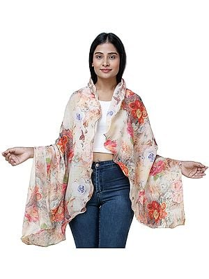 Rosewater Digitally Printed Shawl with Multi-Colored Flowers