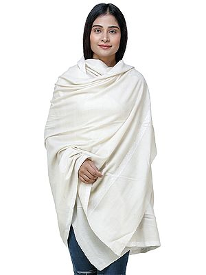 Bleached-Sand Handloom Pashmina Shawl From Kashmir with Intricate Hand Embroidery on Borders