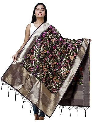 Brocade Dupatta from Gujarat with Woven Floral Motifs All-Over