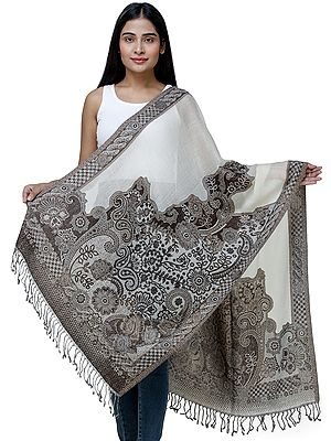 Reversible Cutwork Jamawar Stole from Amritsar with Tassels
