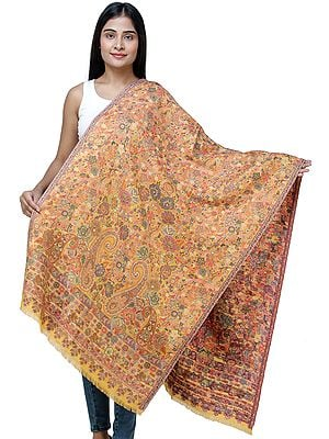 Autumn-Blaze-Yellow Kani Jamawar Stole from Amritsar with Multi-Color Flowers and Paisleys