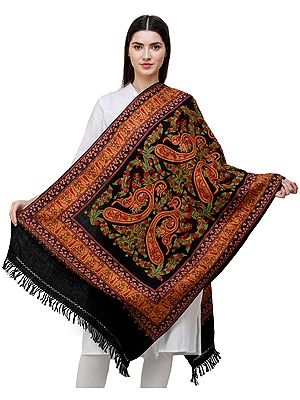 Black-Beauty Traditional Woolen Stole from Kashmir with Hand-Embroidered Paisleys and Flowers