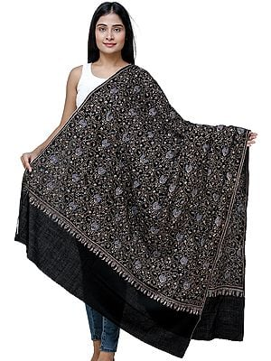 Jet-Black Pashmina Shawl From Kashmir with Intricate Needle Embroidery by Hand