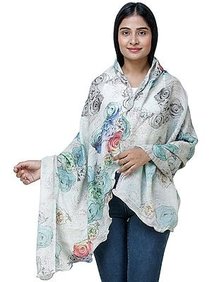 Hushed-Green Digitally Printed Shawl from Amritsar with Multi-Colored Flowers