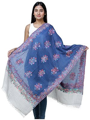 Jamawar Stole from Amritsar with Multi-Color Paisleys
