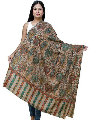 Dune-Brown Kani Pashmina Shawl From Kashmir with Kalamkari Hand Embroidery