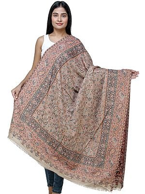 Incense-Brown Kani Shawl from Amritsar with Multi-Color Flowers and Paisleys