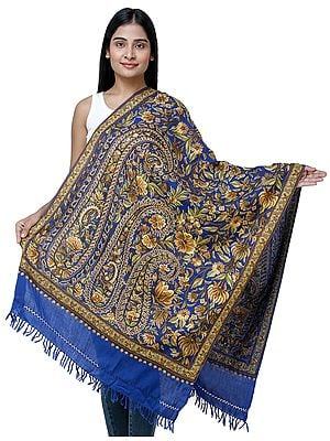 Lapis-Blue Traditional Woolen Stole from Kashmir with Hand-Embroidered Paisleys and Flowers