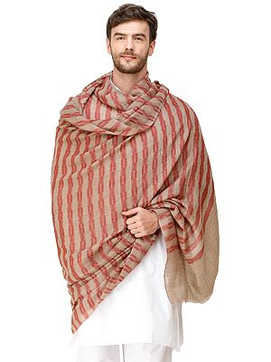 Urban-Red and Light-Taupe Men's Cashmere Shawl from Amritsar with Woven Checks and Stripes