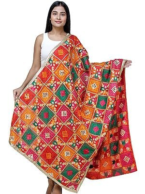 Flame-Scarlet Phulkari Dupatta from Punjab with Multicolor Geometric Patterns and Beaded Zari Border
