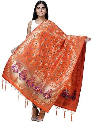 Brocade Dupatta from Gujarat with Birds and Geometric Motifs All-Over