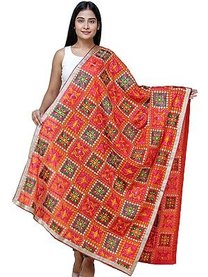 Fiesta-Red Phulkari Dupatta from Punjab with Multicolor Floral Patterns and Zari Border