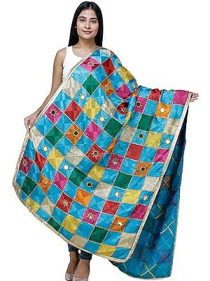 Multicolor Embroidered Phulkari Dupatta from Punjab with Mirrors and Beaded Zari Border