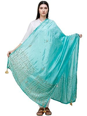 Silk Dupatta From Amritsar with Gota Patti, Floral Beads and Velvet Tassels on Edges