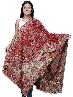 Exotic India Woolen Jamawar Stole - Authentic Jamawar Indian Shawls for Women with Woven Paisleys and Floral Motifs for Any Occasion | Expertly Crafted in Kashmir