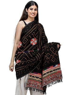 Caviar-Black Bandhani Tie-Dye Antiquated Shawl from Kutch with Rabari Embroidery and Mirror Work