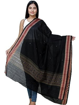 Caviar-Black Sambhalpuri Dupatta from Odisha with Ikat weave and Woven Border
