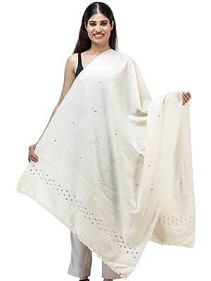 Plain Self Shawl from Kutch with Mirror work