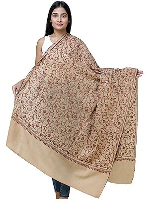 Latte-Brown Tusha Shawl From Kashmir with Sozni Hand Embroidery