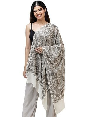 Heavily Embroidered Stole from Amritsar with Vines and Paisley Patterns