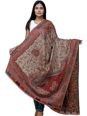 Rythmic-Red Kani Jamawar Shawl from Amritsar with Multicolor Floral Vines