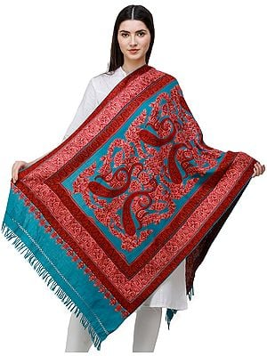 Caribbean-Blue Traditional Woolen Stole from Kashmir with Hand-Embroidered Paisleys and Flowers