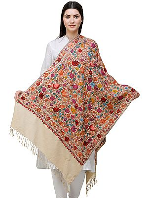 Traditional Woolen Stole from Amritsar with Ari-Embroidered Flowers