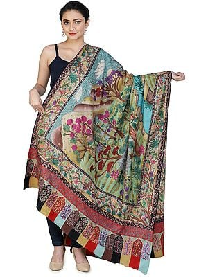 Superfine Pure Pashmina Shawl from Kashmir with Kalamkari Hand-Embroidery Depicting a Hunting Sene