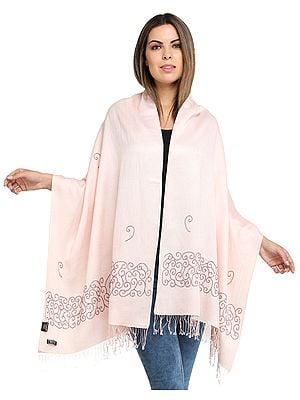 Pearl-Pink Cashmere Stole from Nepal with Bead-Work on Border