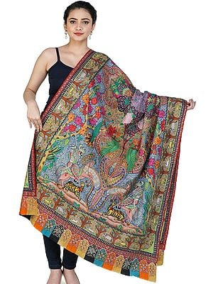 Superfine Pure Pashmina Shawl from Kashmir with Kalamkari Hand-Embroidery Depicting Mughal Hunting Scene