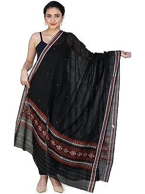 Caviar-Black Bomkai Dupatta from Orissa with Woven Motifs on Border