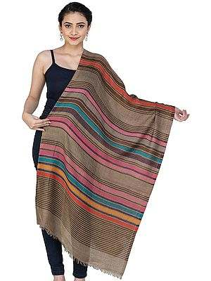 Pure Wool Stole with Woven Stripes in Multicolor Thread