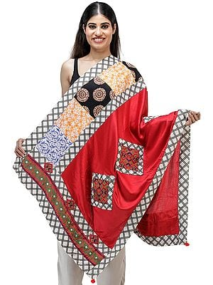 Dupatta from Kutch with Embroidered Patchwork and Printed Borders