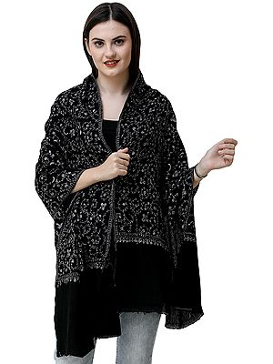 Jet-Black Cashmere Stole from Kashmir with Sozni Hand-Embroidered Vines
