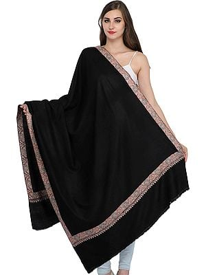 Caviar-Black Solid Pashmina Shawl from Kashmir with Needle Hand-Embroidery on Border